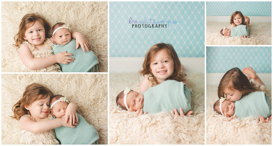 Baby girl newborn photography session in plano tx studio with mint teal and coral