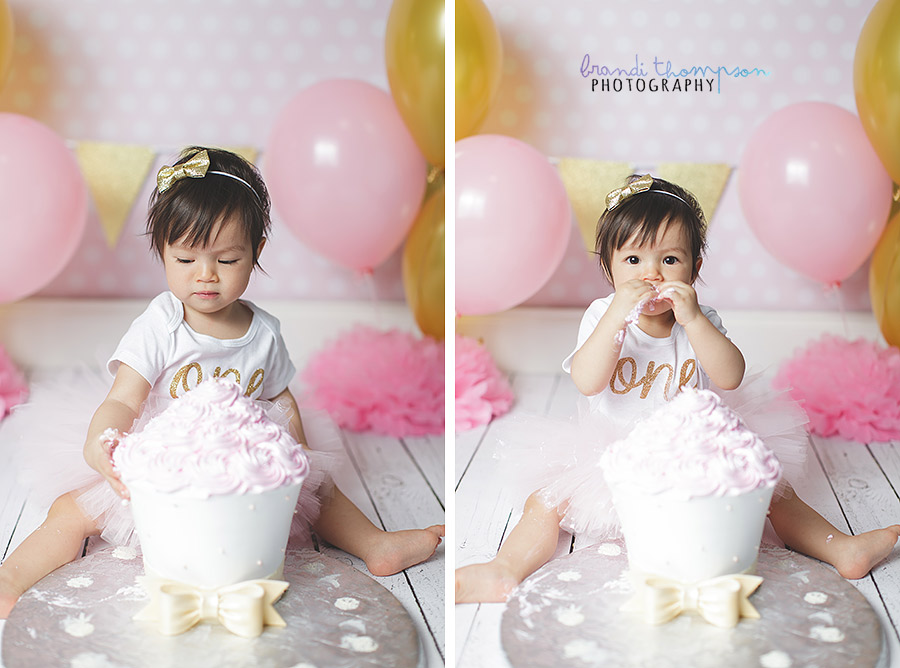 plano cake smash, plano first birthday, pink and gold
