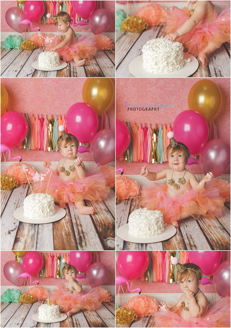 flamingo themed first birthday cake smash in plano, tx studio