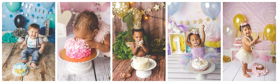 five one year old babies having cake smash sessions on various, colorful backdrops