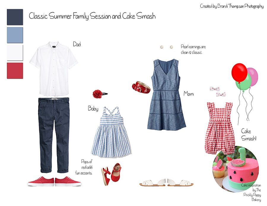 what to wear summer family session, watermelon cake smash inspiration