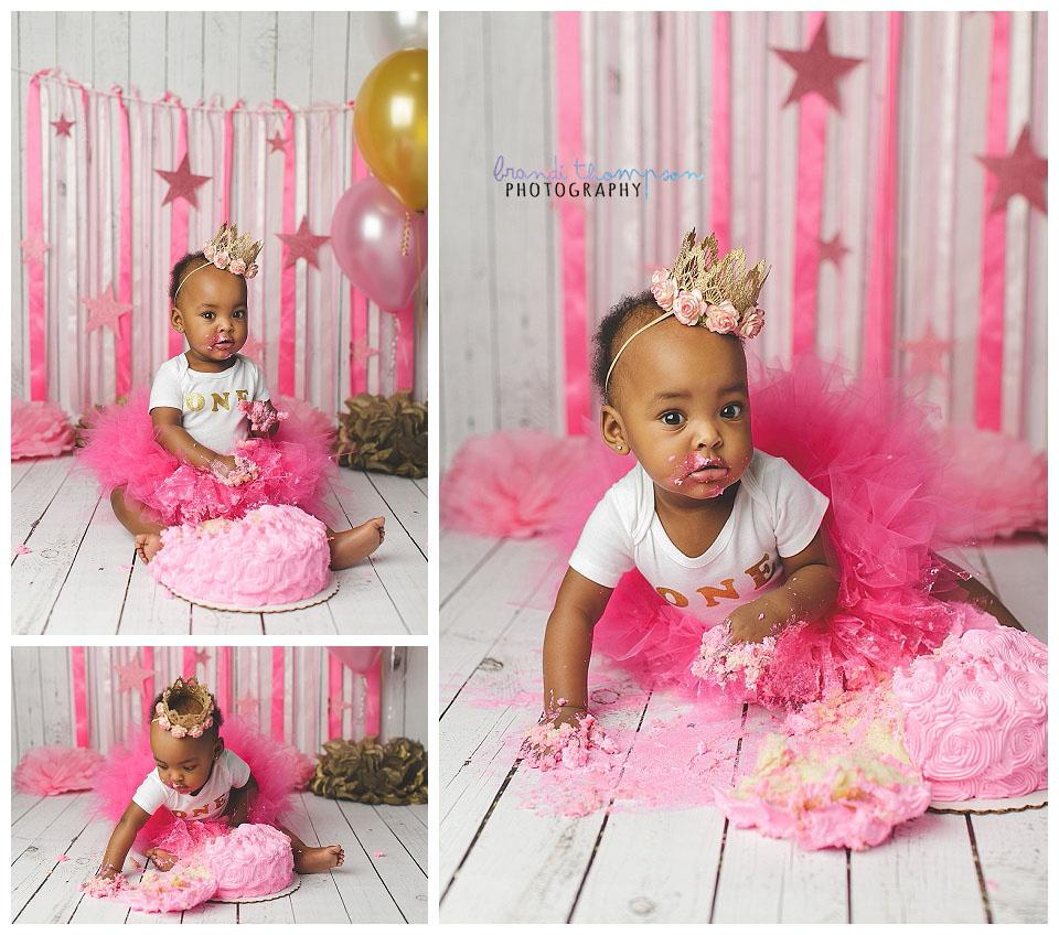 plano cake smash photographer, pink cake smash