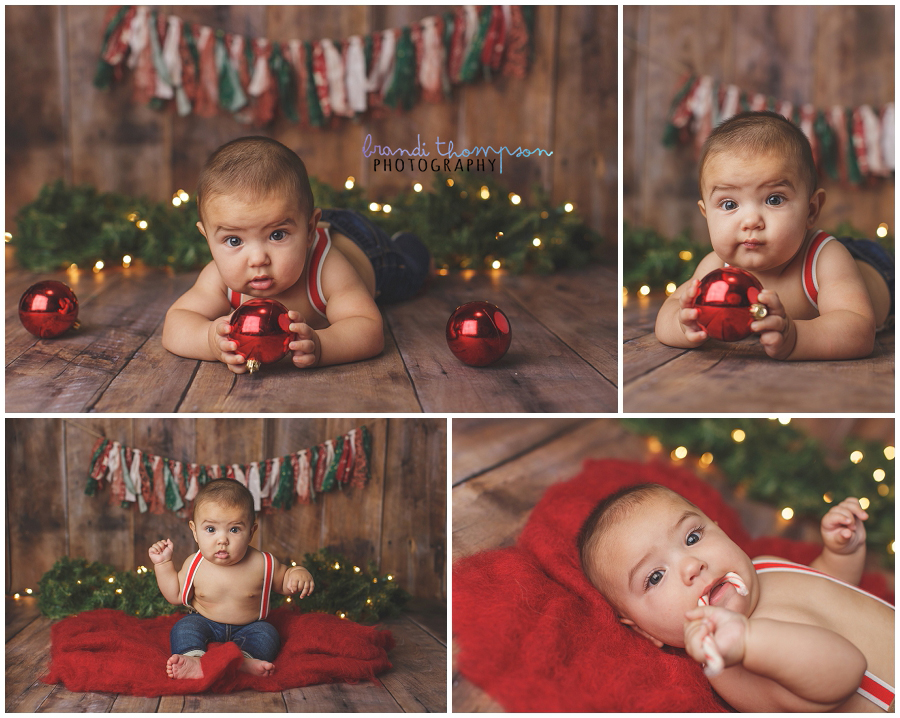 christmas themed six month milestone session in plano, tx studio