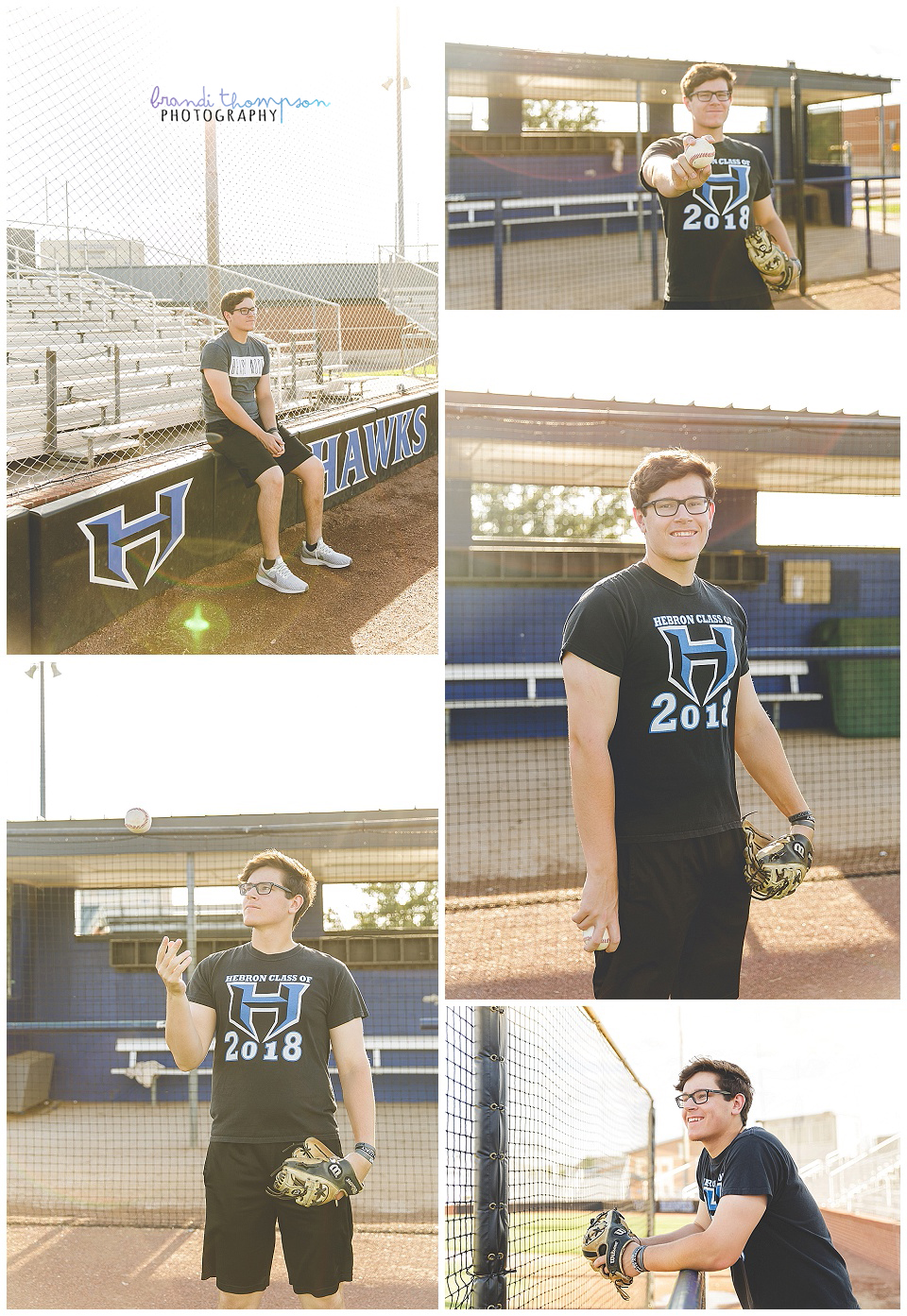 outdoor senior session at a carrollton baseball field with senior boy