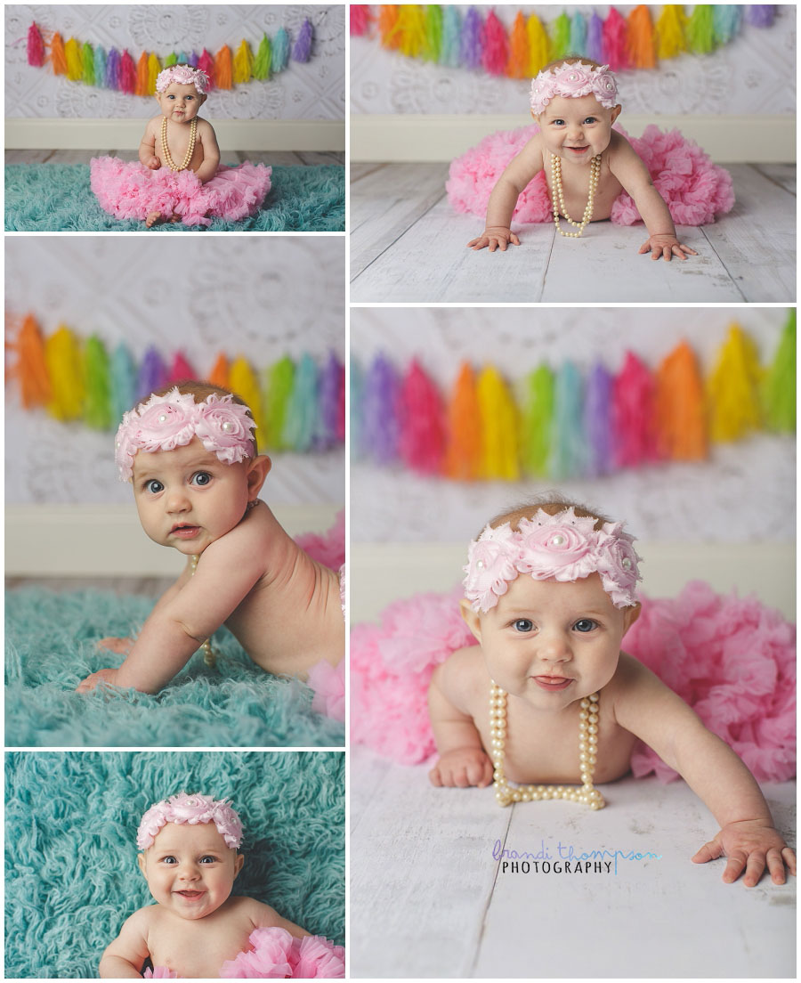 six month old baby girl milestone images in plano, tx photography studio