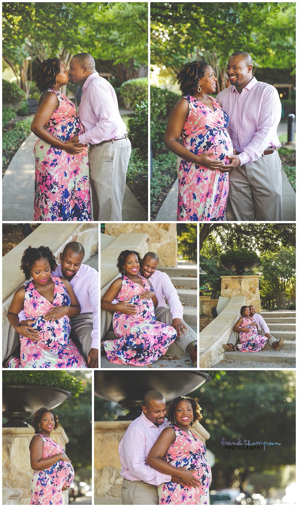 outdoor plano maternity session with couple in pink
