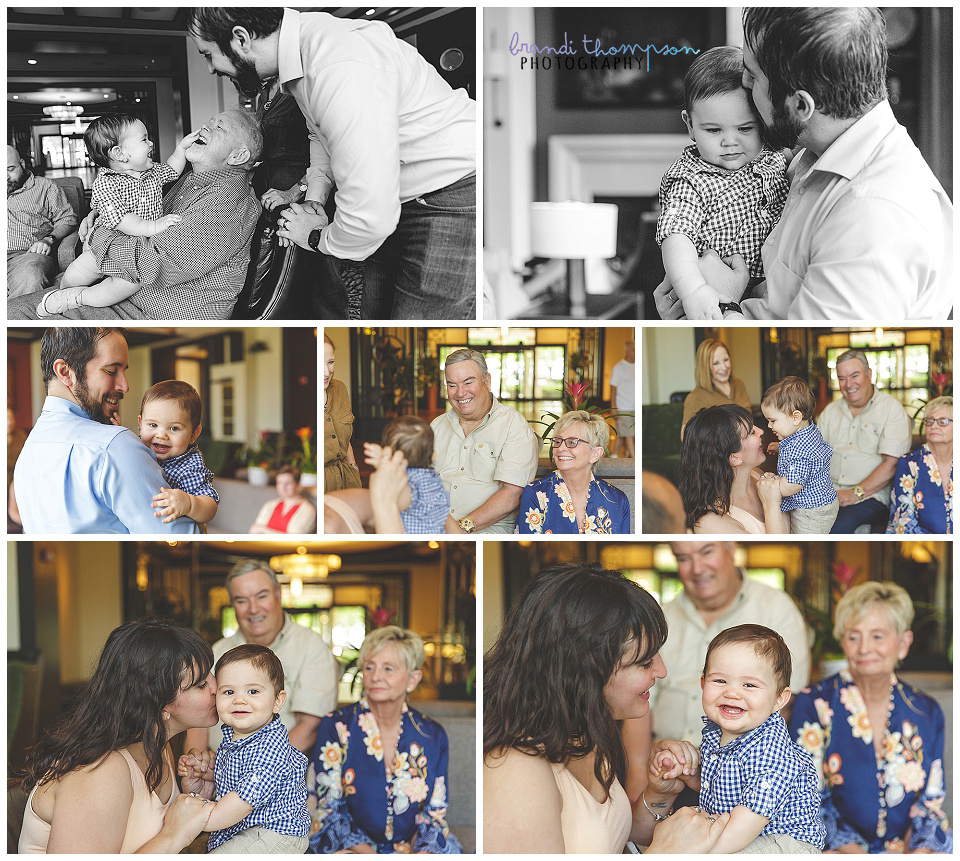 extended family session with two sets of grandparents in frisco, tx at a hotel