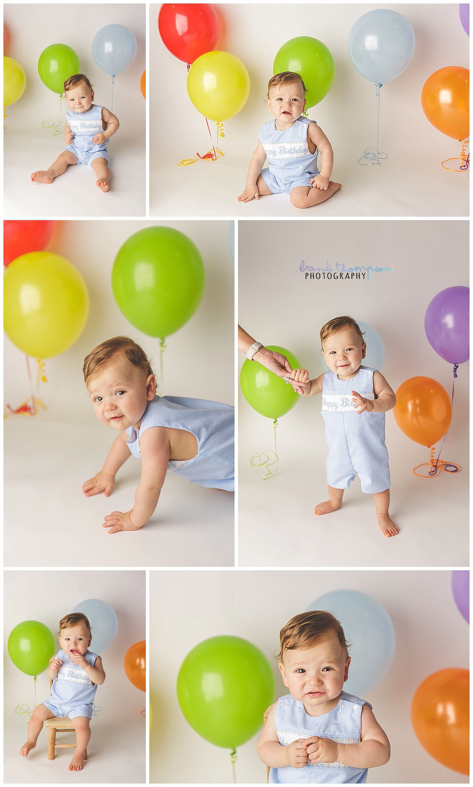 minimalist cake smash with multicolored balloons and baby boy, in plano, tx studio