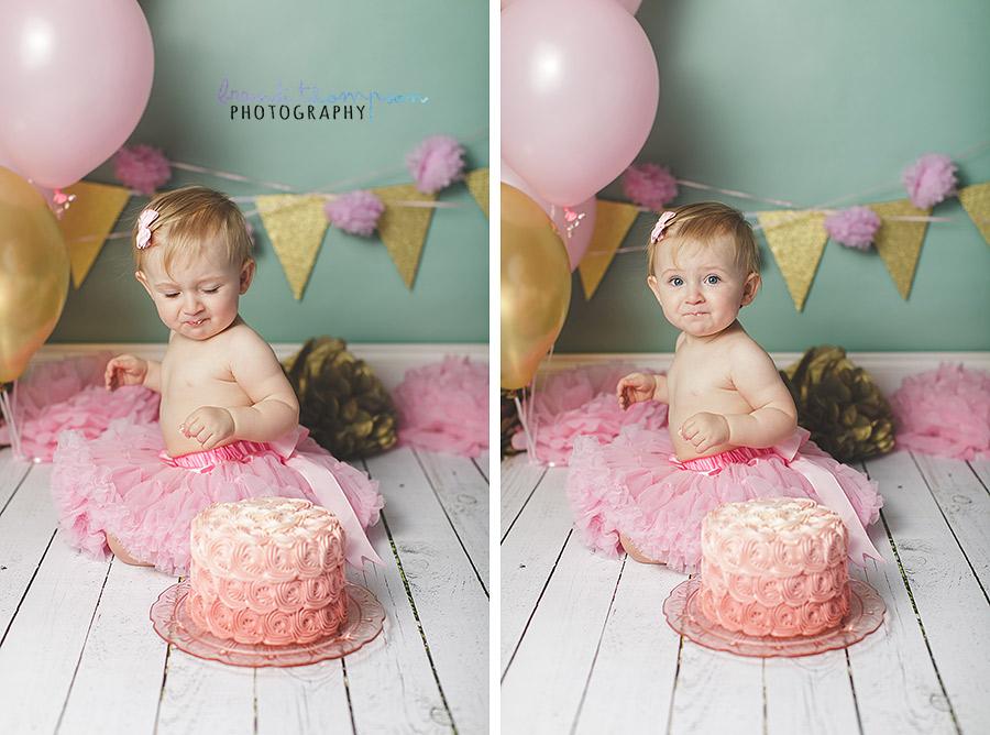 plano cake smash, gold green pink cake smash