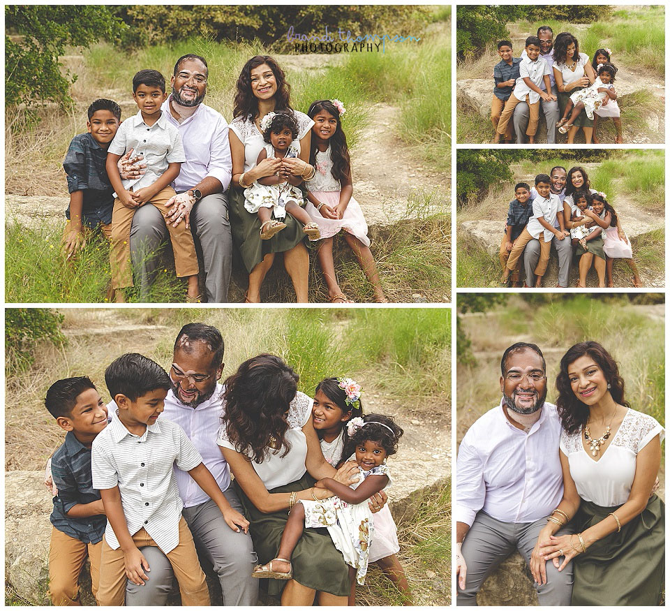 outdoor family photos with family of six in plano, tx