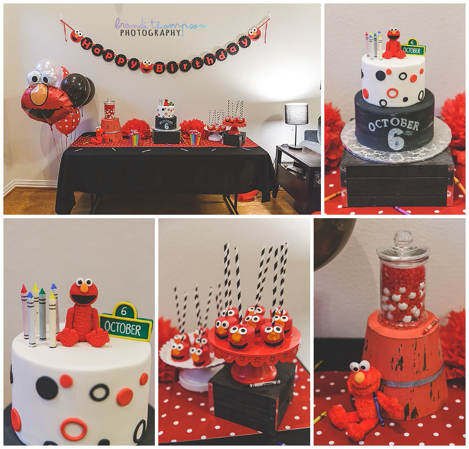 red, black and white elmo themed birthday party