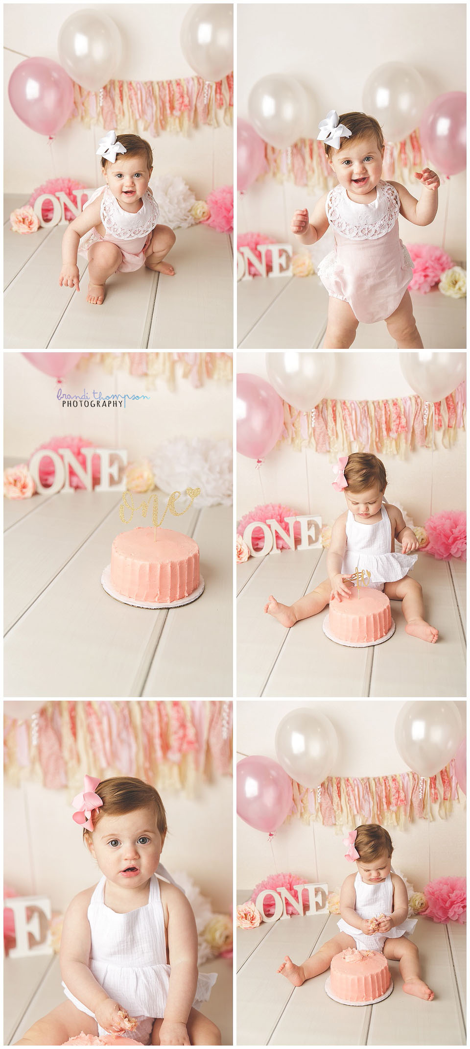 collage of one year old baby girl in studio with pink and white decorations, plano tx photography studio