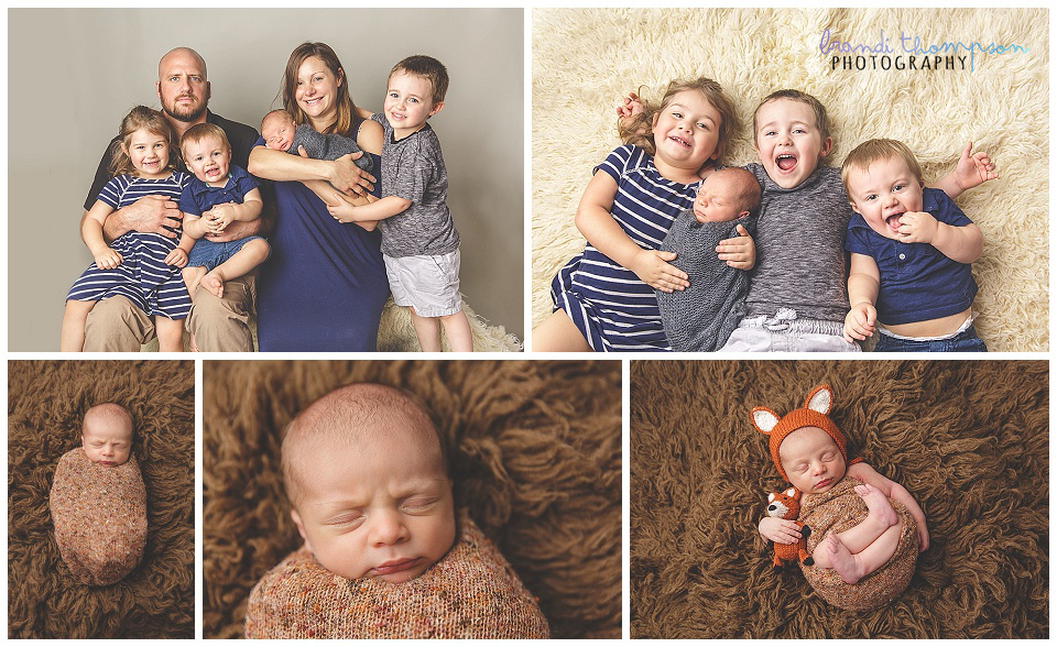 newborn photos of baby boy in studio with family and siblings, and on brown rug