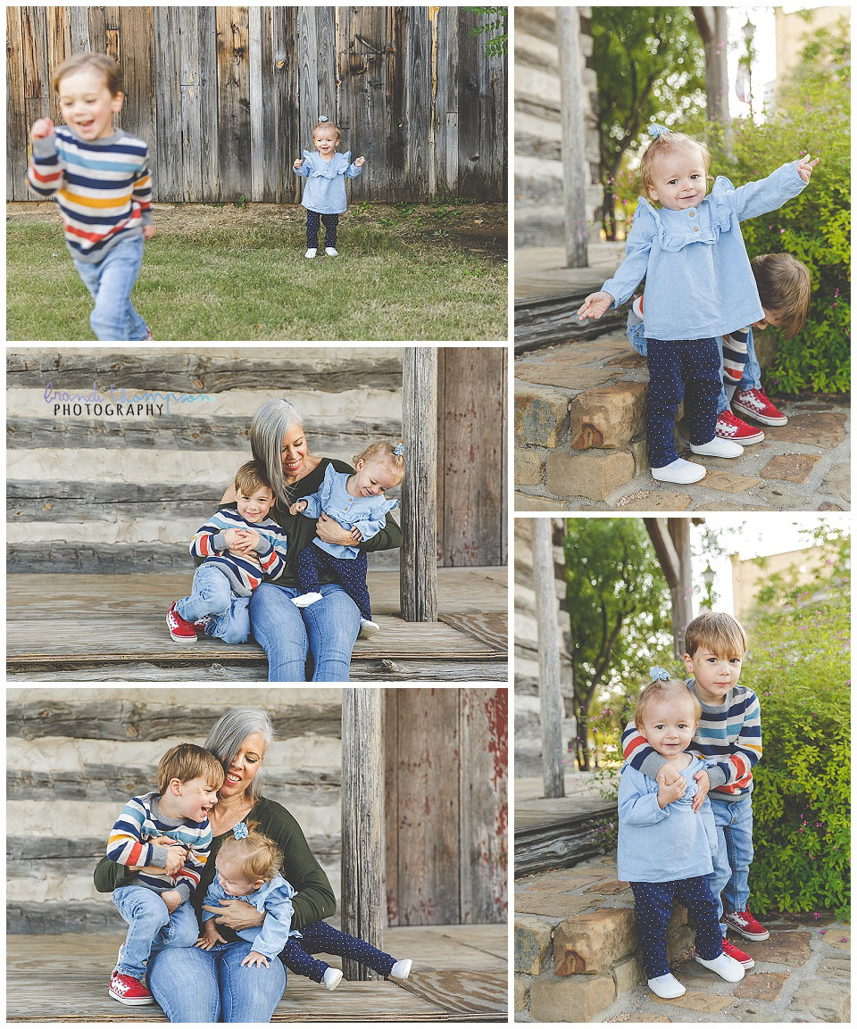 outdoor family session in frisco, tx with rustic buildings, mama and young son and daughter