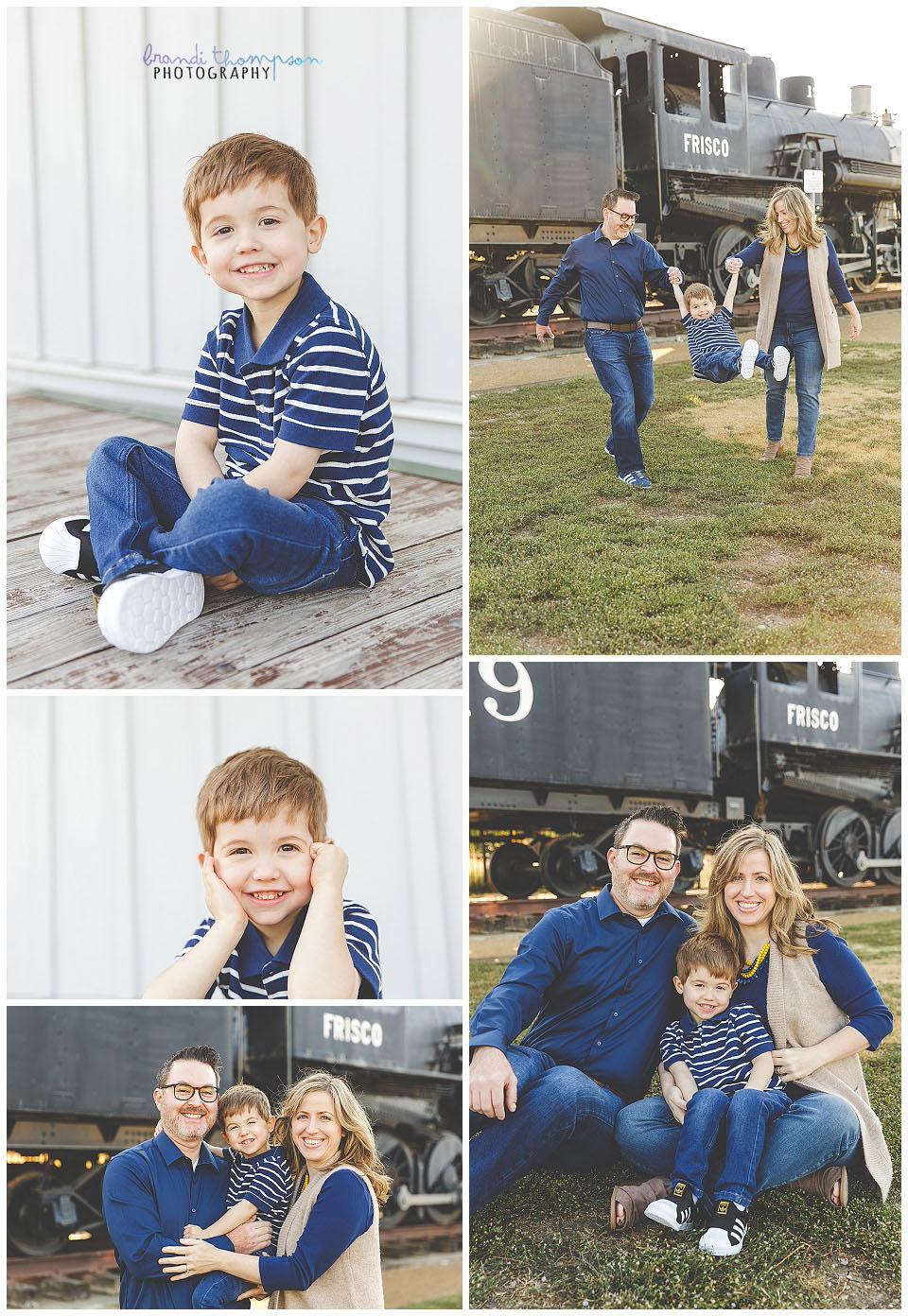 outdoor family session with train and log cabin in frisco, tx mom, dad and young son