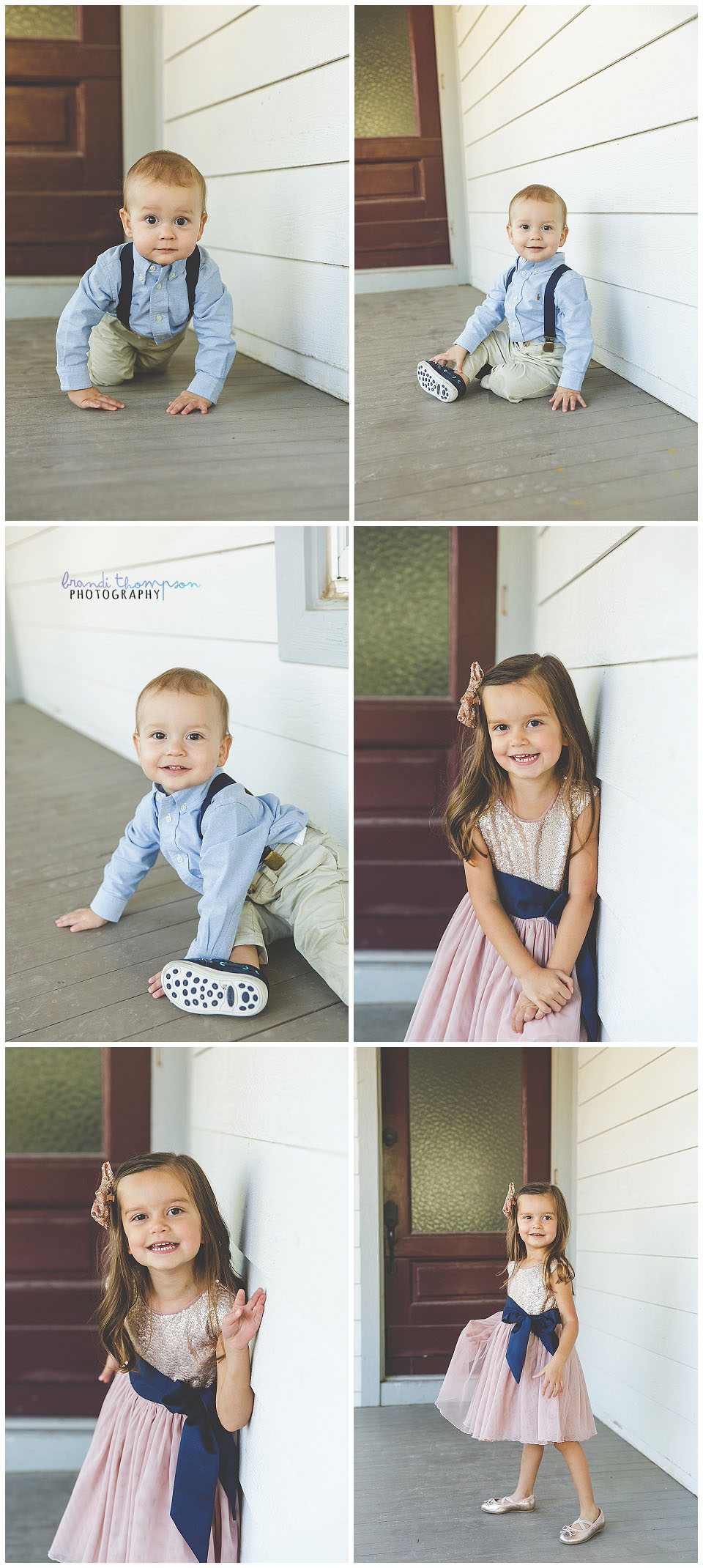 outdoor family session with vintage buildings in frisco texas. dad, mom, young daughter and baby boy