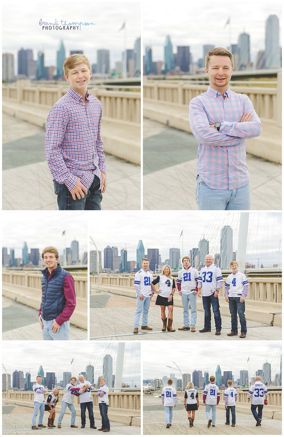downtown family session with three grown sons and dallas skyline