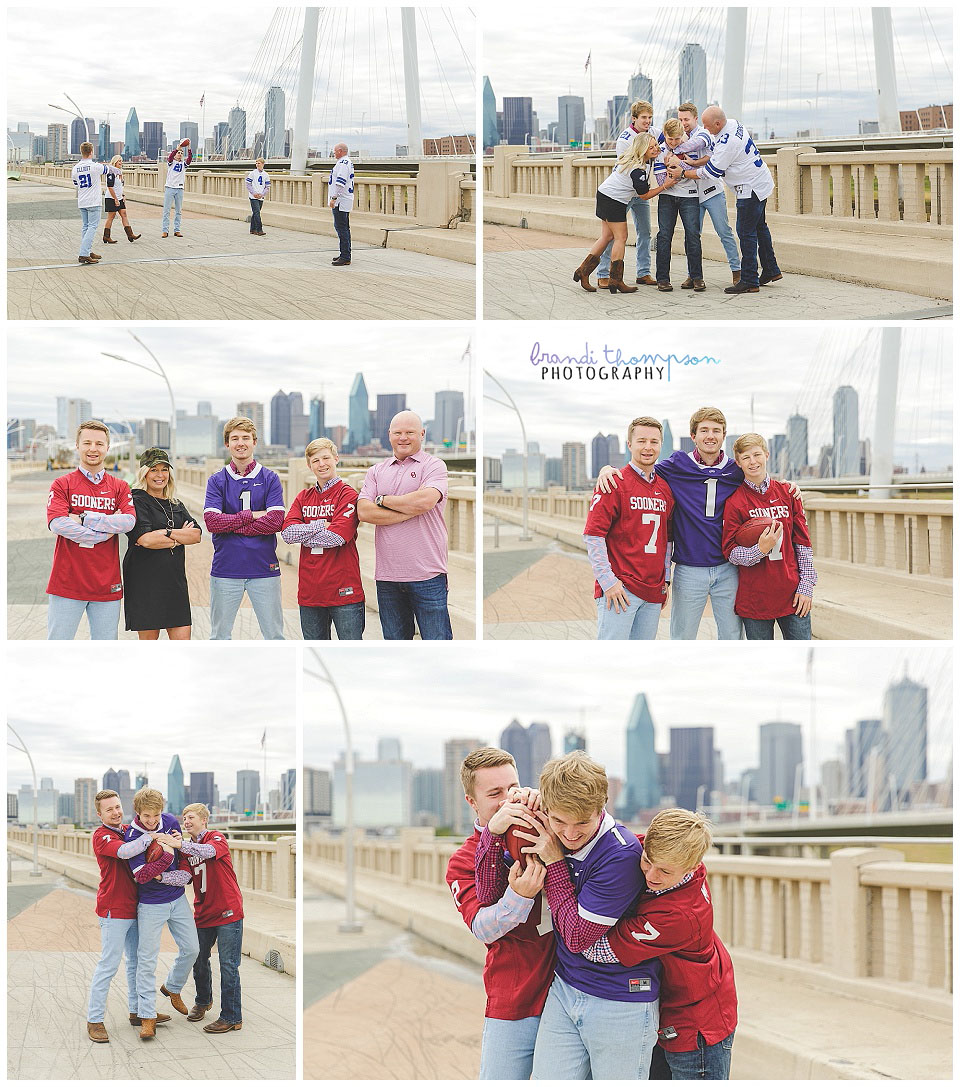 downtown family session with three grown sons and dallas skyline, family playing with football