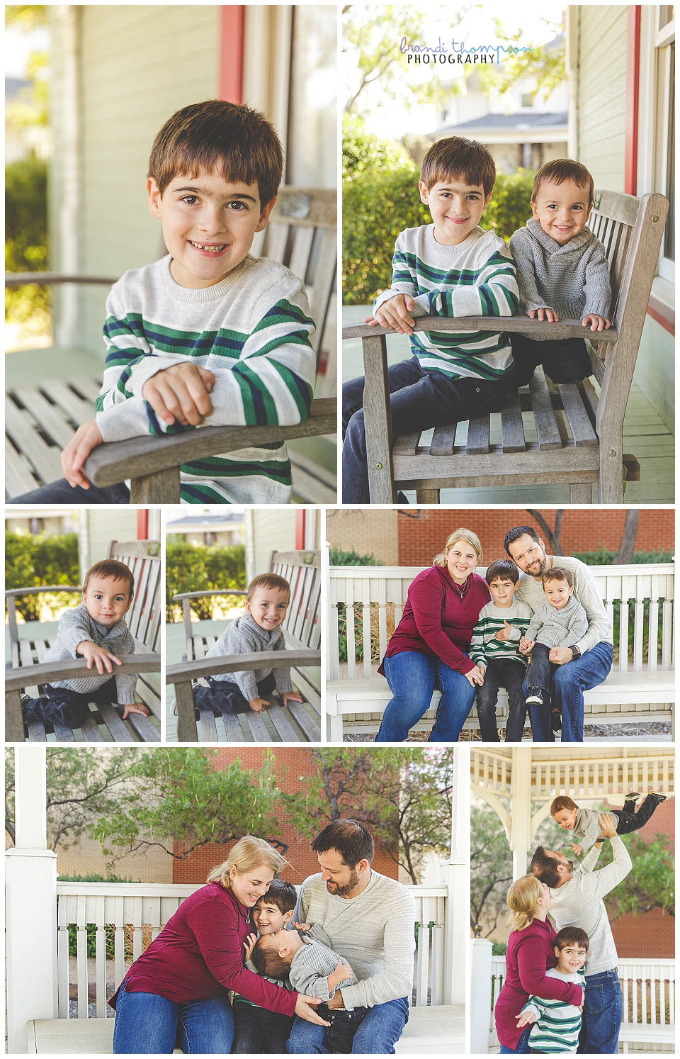 outdoor family photos with dad, mom, two young boys at a rustic setting in frisco, tx