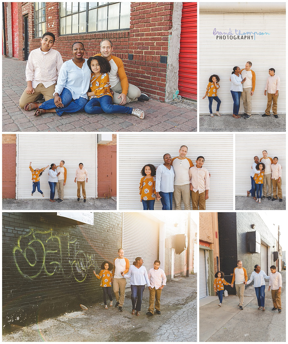 urban outdoor family session in deep ellum tx with dad, mom, big brother and little sister