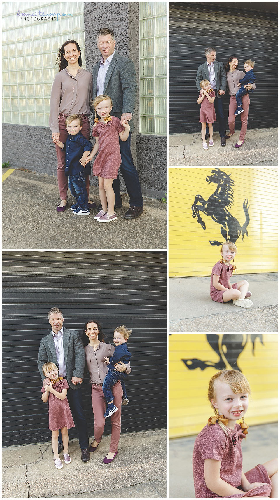urban outdoor family session in deep ellum tx, with dad, mom, big sister and little brother