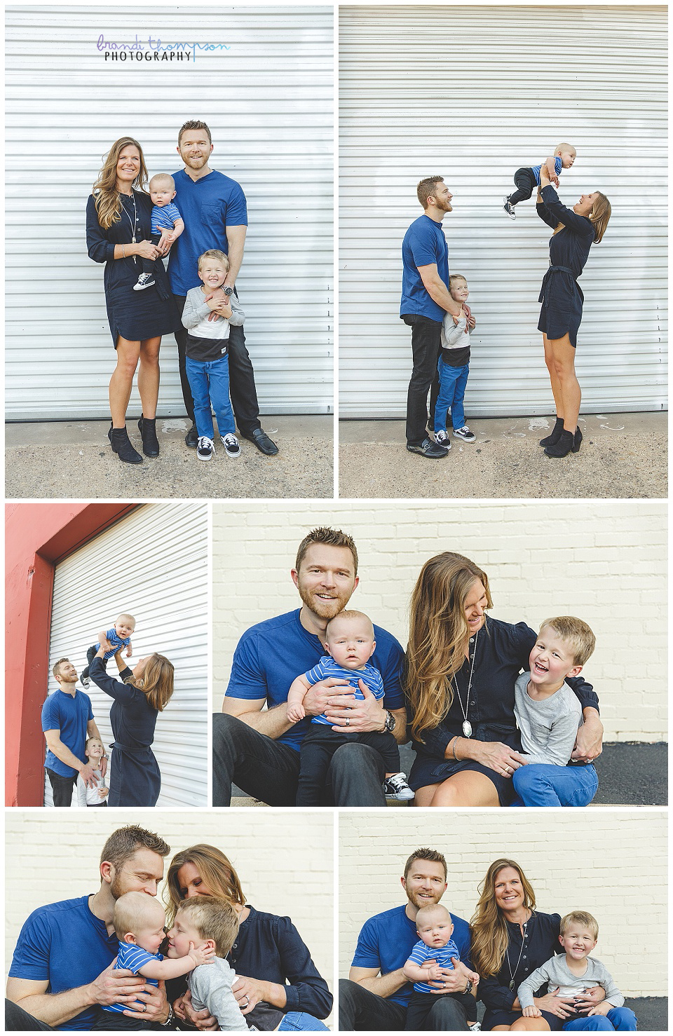 outdoor urban family session with dad, mom and two young sons in deep ellum, tx