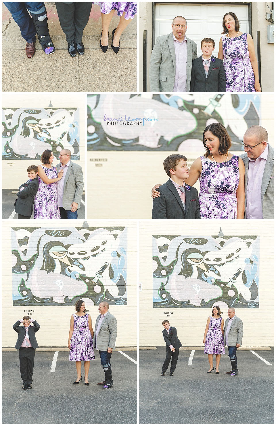 Urban family session in deep ellum, tx with mom, dad and elementary age son