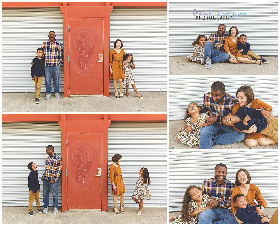 urban outdoor family session in dallas, tx with mom, dad, brother and little sister