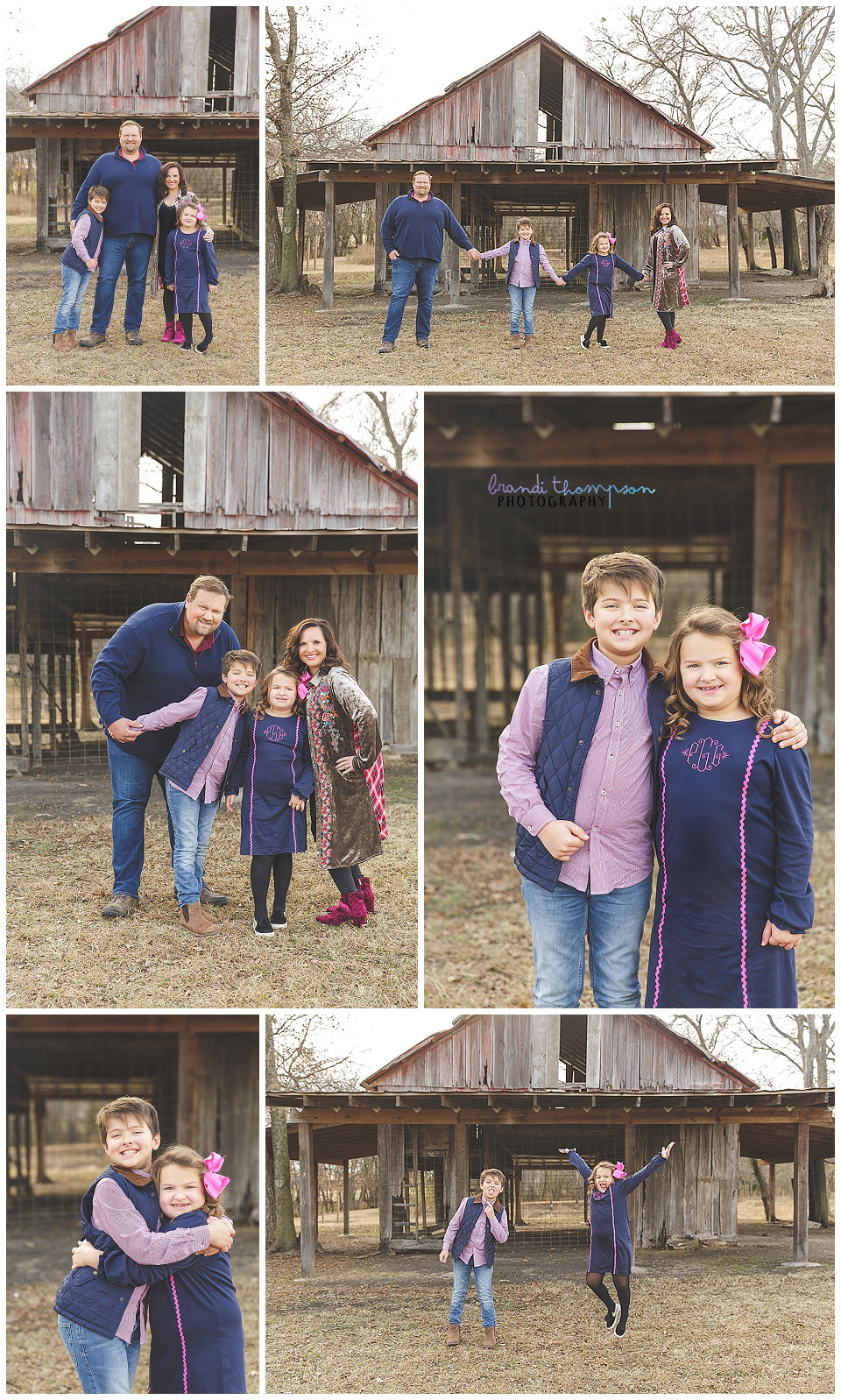outdoor country family session with dad, mom, son and younger daughter