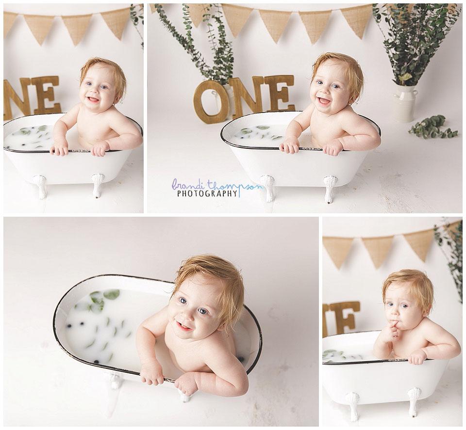 minimalist natural milk bath in plano, tx with blond baby boy