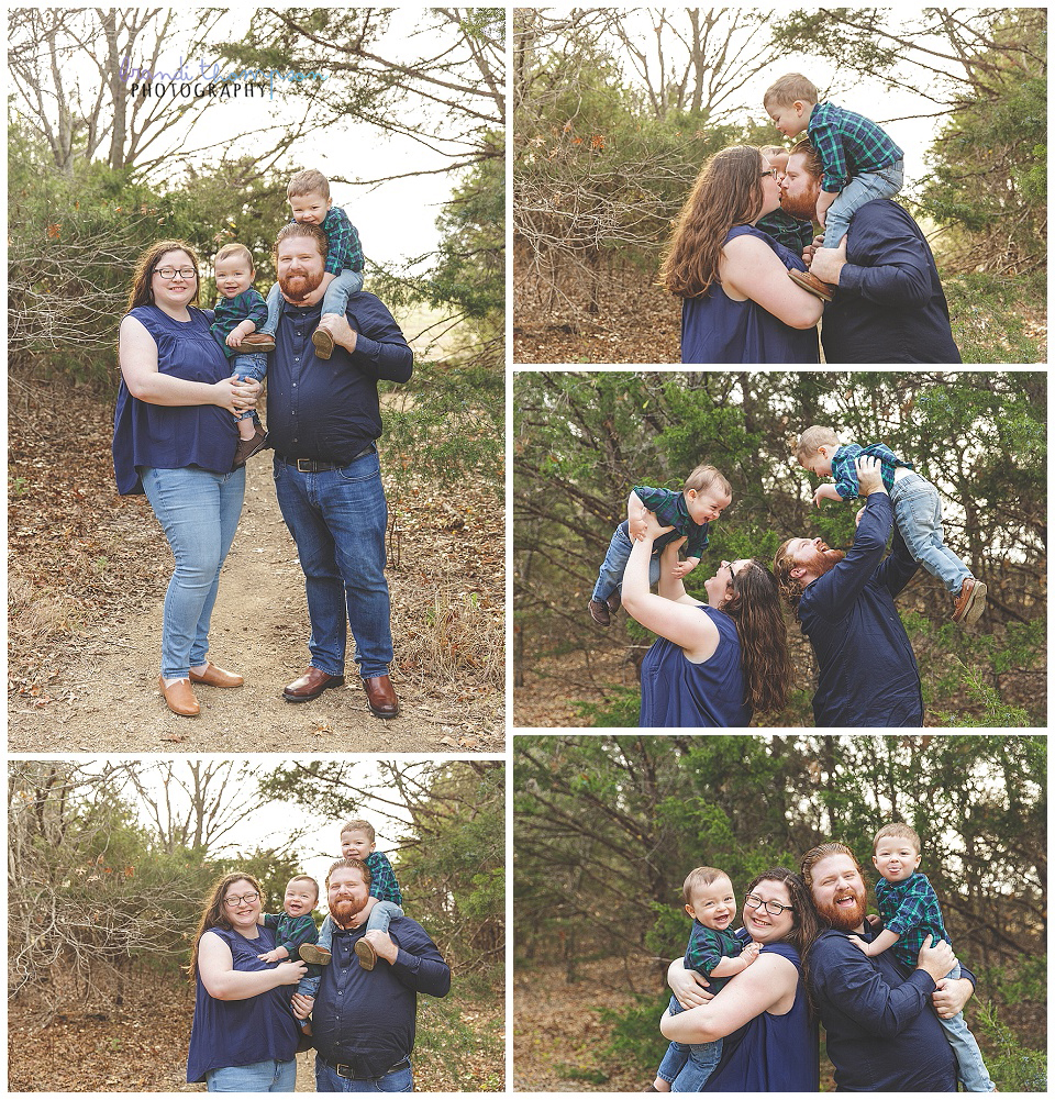 outdoor family photos with one year old, big brother, and parents at arbor hills nature preserve in plano, tx