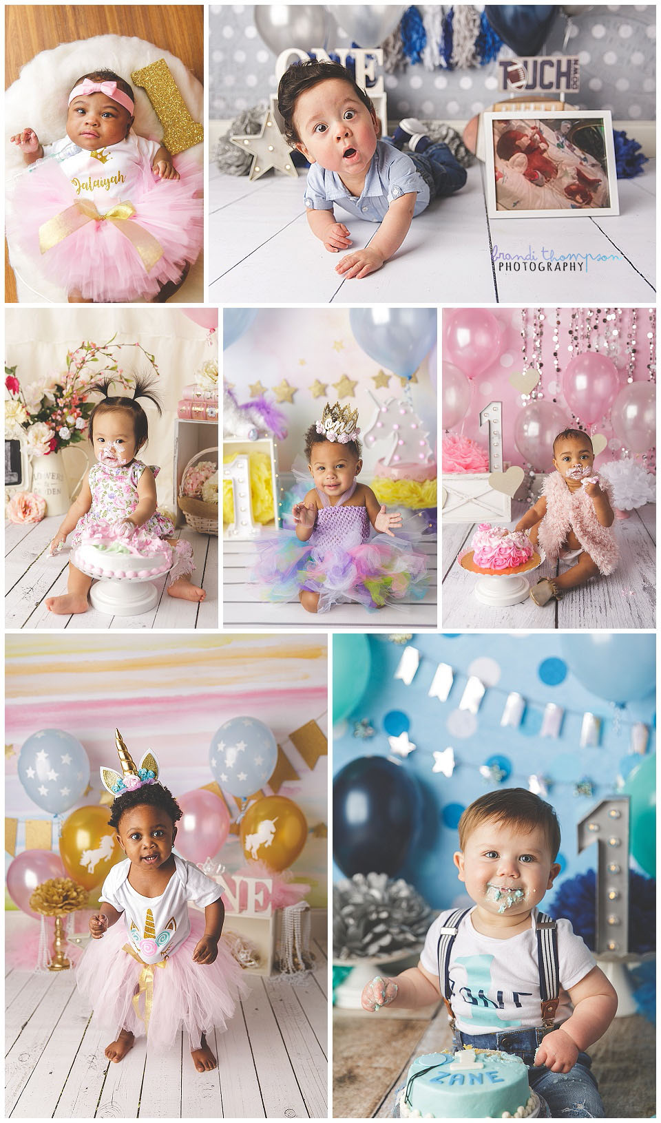 Collage of first birthday cake smash sessions, boys, girls and twins. plano, tx studio